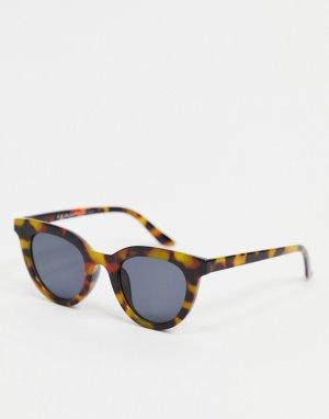 Круглые солнцезащитные очки с черепаховой оправой и черными стеклами -Коричневый цвет AJ Morgan