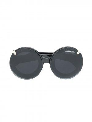Солнцезащитные очки в круглой оправе Monnalisa. Цвет: черный