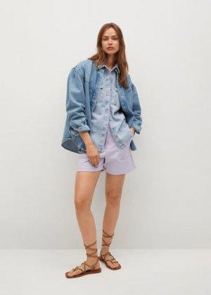 Верхняя рубашка из денима с рукавами-фонариками - Caramel Mango. Цвет: синий средний
