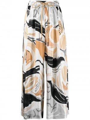 Широкие брюки с принтом Swan Rhapsody Alysi. Цвет: белый