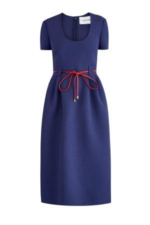 Платье из двойной шерстяной ткани с контрастным поясом кожи VALENTINO. Цвет: синий