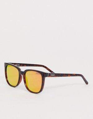 Солнцезащитные очки в квадратной оправе с красными зеркальными стеклами Levis-Коричневый Levi's
