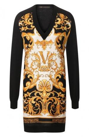 Пуловер из смеси шелка и хлопка Versace. Цвет: черный