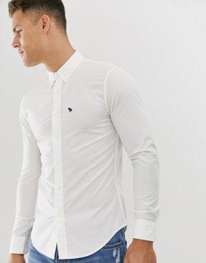 Белая поплиновая рубашка с логотипом Abercrombie & Fitch
