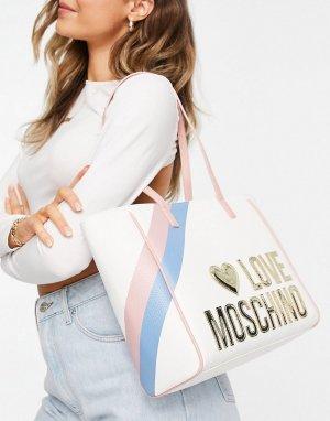 Белая дорожная сумка-тоут с большим логотипом -Белый Love Moschino