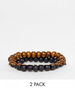 Набор из 2 браслетов бусин черного и коричневого цветов -Черный цвет ASOS DESIGN