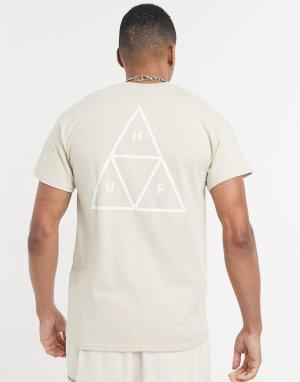 Светло-коричневая футболка с тройными треугольниками Essentials-Коричневый цвет HUF