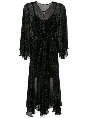 Платье миди с завязками Eva. Цвет: черный