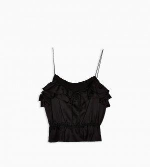 Черная майка с оборками -Черный цвет Topshop Petite