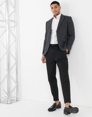 Приталенный твидовый пиджак темно-серого цвета в клетку Moss London-Серый BROS
