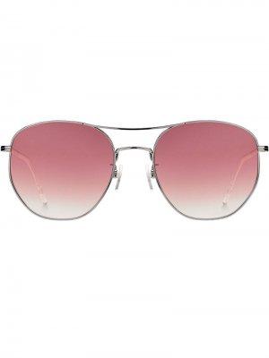 Затемненные солнцезащитные очки-авиаторы Tommy Hilfiger. Цвет: розовый