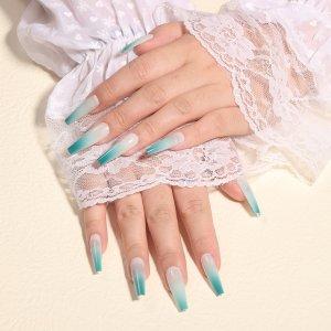 24шт Накладные ногти с узором омбре & 1шт пилочка для ногтей 1 лист лента SHEIN. Цвет: зеленый лайм