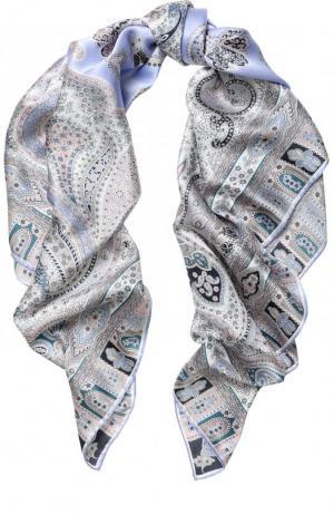 Шелковый платок с принтом Michele Binda. Цвет: светло-сиреневый