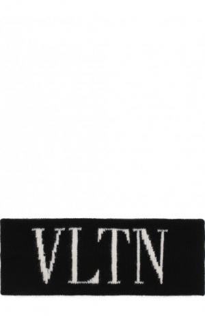 Повязка на голову из смеси шерсти и кашемира VLTN Valentino. Цвет: черно-белый