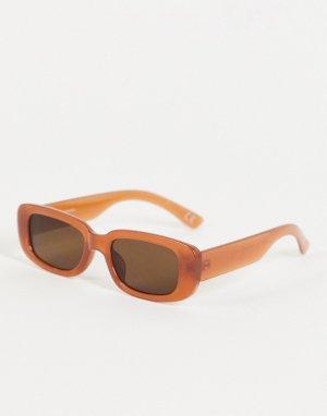 Прямоугольные солнцезащитные очки в коричневой оправе с затемненными стеклами -Коричневый цвет ASOS DESIGN