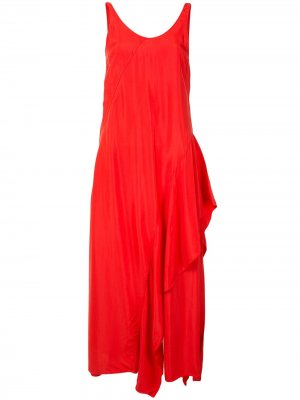Длинное платье с оборками Kenzo. Цвет: красный