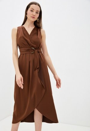Платье Sisley. Цвет: коричневый