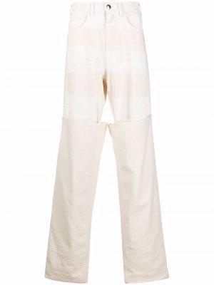 Многослойные джинсы широкого кроя Marni. Цвет: нейтральные цвета