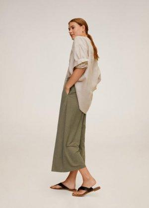 Струящиеся брюки-кюлоты - Thalia Mango. Цвет: хаки
