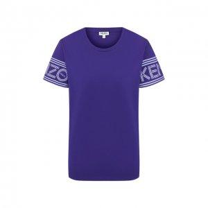 Хлопковая футболка Kenzo. Цвет: фиолетовый