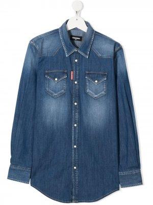 Джинсовая рубашка с эффектом потертости Dsquared2 Kids. Цвет: синий