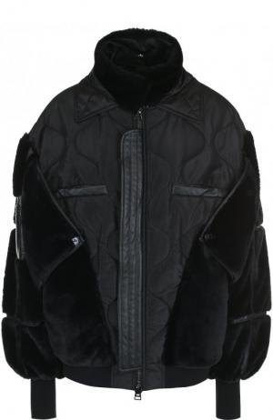 Однотонная куртка с воротником-стойкой и кожаной отделкой Tom Ford. Цвет: чёрный