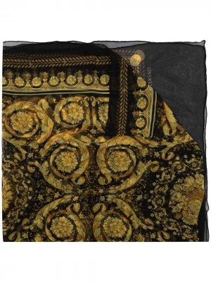 Barocco-print silk scarf Versace. Цвет: черный