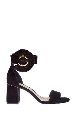 Босоножки из бархатистой замши на устойчивом каблуке REDVALENTINO. Цвет: черный