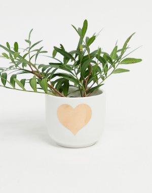 Маленький горшок для растений с сердечком -Золотистый Sass & Belle
