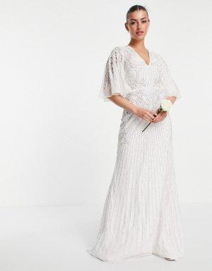 Свадебное платье с расклешенными рукавами и отделкой Eliza-Белый ASOS EDITION