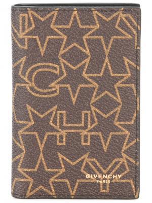 Визитница с фирменным звездным принтом Givenchy. Цвет: коричневый