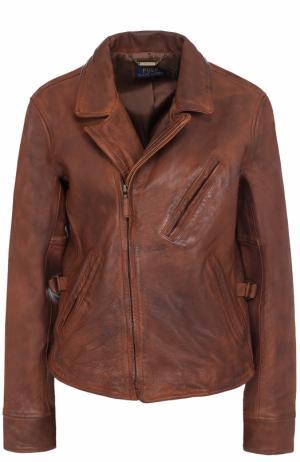 Кожаная куртка с косой молнией и потертостями Polo Ralph Lauren. Цвет: коричневый