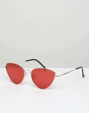 Солнцезащитные очки кошачий глаз в золотистой оправе с красными стеклами AJ Morgan. Цвет: золотой