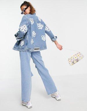 Выбеленная джинсовая куртка свободного кроя с цветочным рисунком от комплекта -Голубой The Ragged Priest
