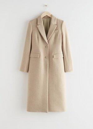 Пальто кроя песочные часы из смесовой шерсти &Other Stories. Цвет: бежевый