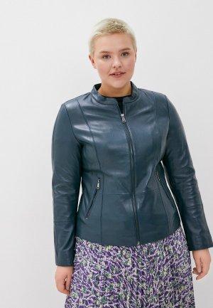 Куртка кожаная Le Monique IPLM1407LS20. Цвет: синий