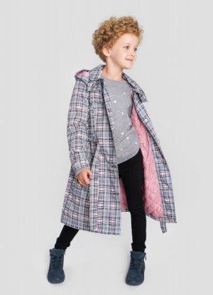 Полупальто для девочек с поясом O`Stin. Цвет: светло-розовый