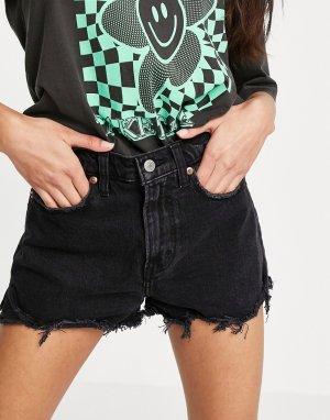 Черные джинсовые шорты с необработанными краями -Черный Abercrombie & Fitch