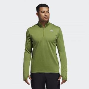 Лонгслив для бега Response Climawarm 1/4 Zip Performance adidas. Цвет: оливковый