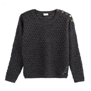 Пуловер ажурный с круглым вырезом, застежкой на пуговицы плече VILA. Цвет: кремовый,синий морской