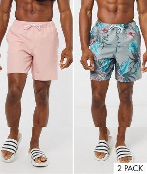 Набор из 2 шортов для плавания средней длины (розовый/с цветочным принтом) -Мульти ASOS DESIGN