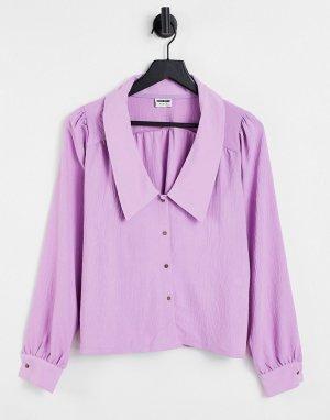 Фиолетовая рубашка с длинными рукавами и большим воротником Ceren-Фиолетовый цвет Noisy May