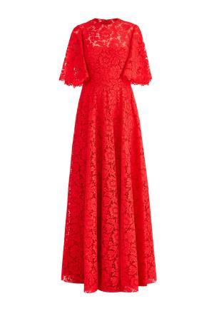 Приталенное вечернее платье в пол из кружева Heavy Lace VALENTINO. Цвет: красный