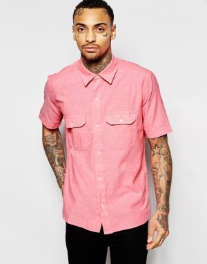 Рубашка классического кроя из шамбре с короткими рукавами American App Apparel. Цвет: розовый