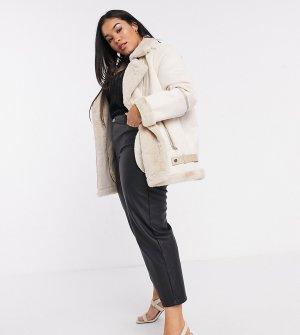 Байкерская куртка из искусственной овчины -Кремовый Fashion Union Plus