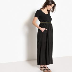 Юбка длинная для периода беременности, резинка с оригинальной отделкой LA REDOUTE MATERNITÉ. Цвет: розовый,черный