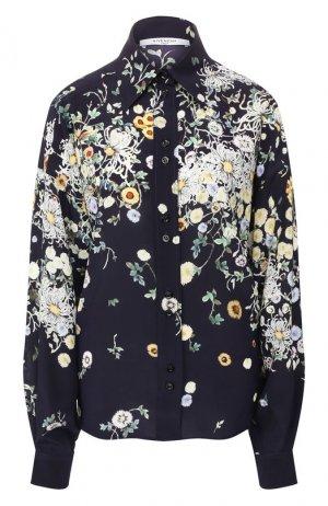 Шелковая рубашка Givenchy. Цвет: синий