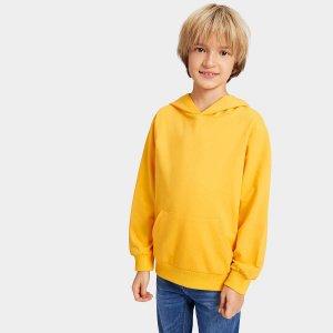 Полотняный пуловер с капюшоном для мальчика SHEIN. Цвет: горчично-желтый
