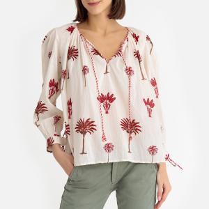 Блузка с круглым вырезом разрезом спереди и вышивкой PALMIO ANTIK BATIK. Цвет: наб. рисунок красный