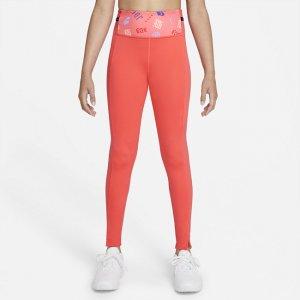 Леггинсы с принтом для девочек школьного возраста Dri-FIT One Luxe - Оранжевый Nike
